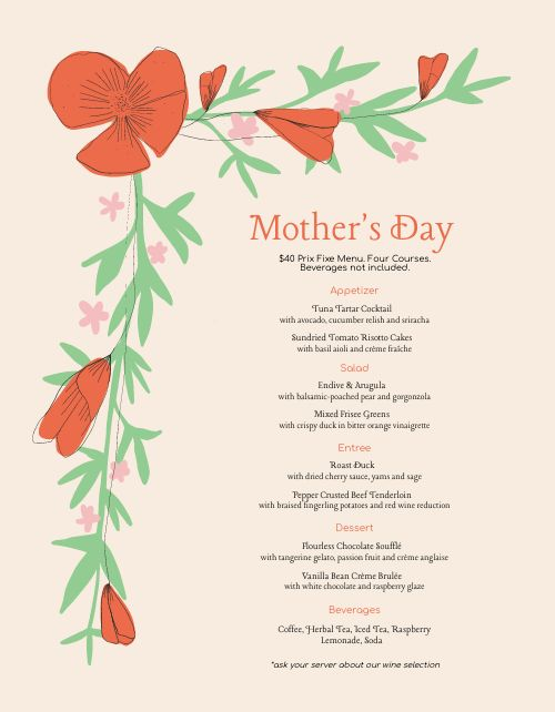 Mothers Day Lily Menu