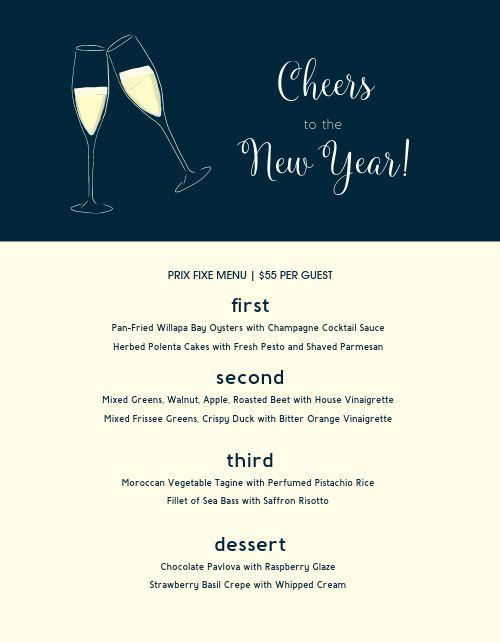 New Years Eve Cheers Menu