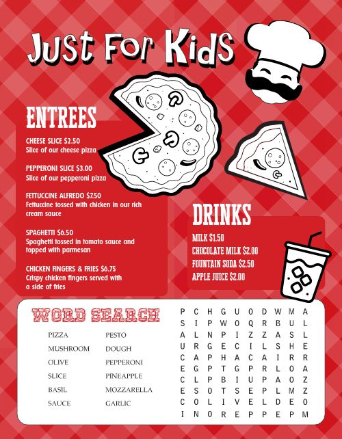 Pizza Kids Menu