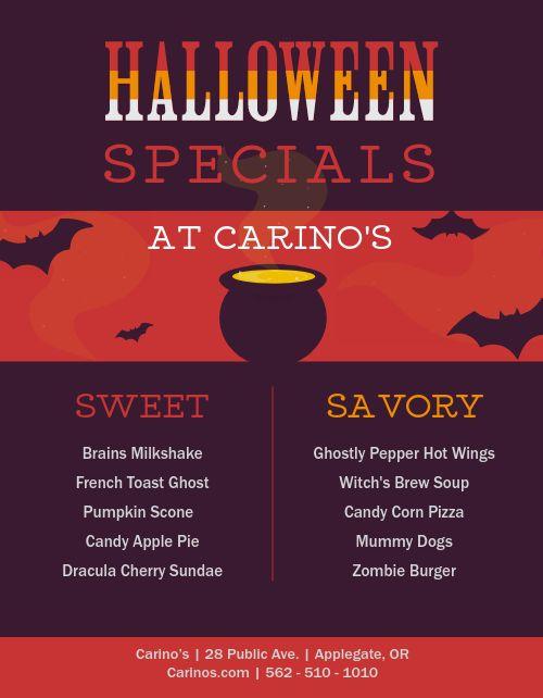 Halloween Specials Flyer