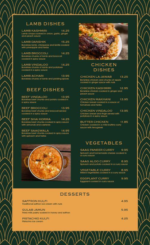 Upscale Indian Cuisine Menu
