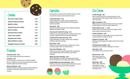 Cookies Dessert Takeout Menu