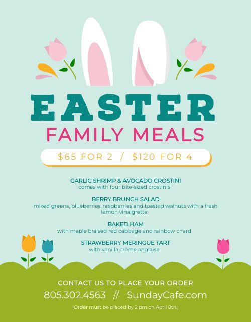 Easter Menu Sample