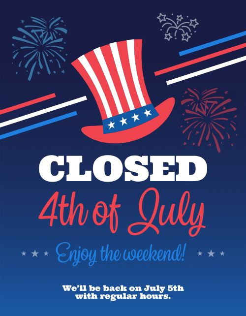 Closed July Fourth Flyer