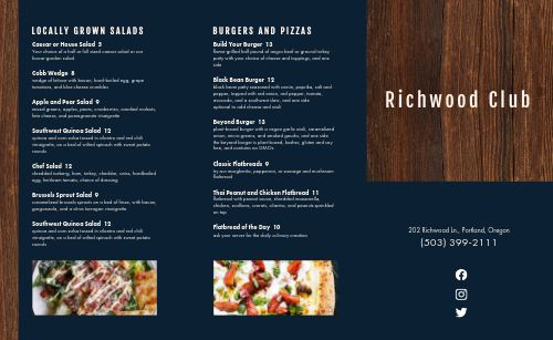 Wooden Country Club Takeout Menu