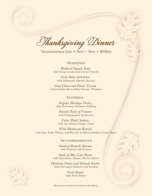 Cafe Thanksgiving Menu