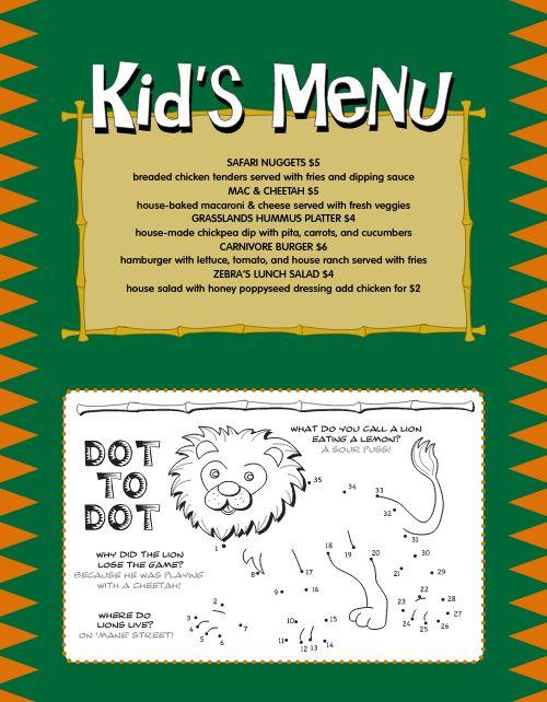 Jungle Kids Breakfast Menu