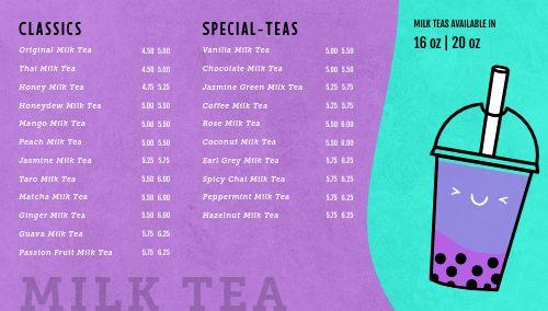 Bubble Tea Digital Menu