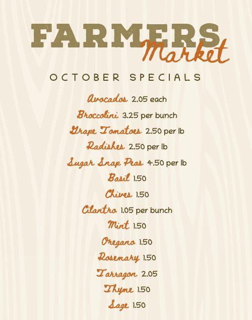 Fall Farmers Market Menu Poster