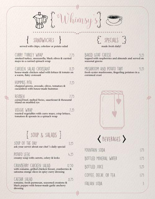 Quaint Cafe Menu