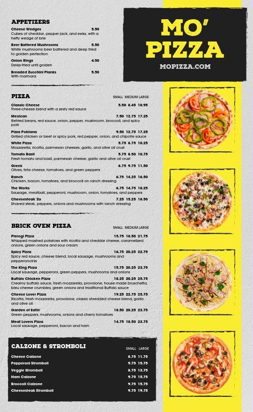 Traditional Pizza Menu