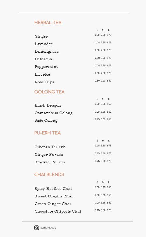 Tea Cup Menu