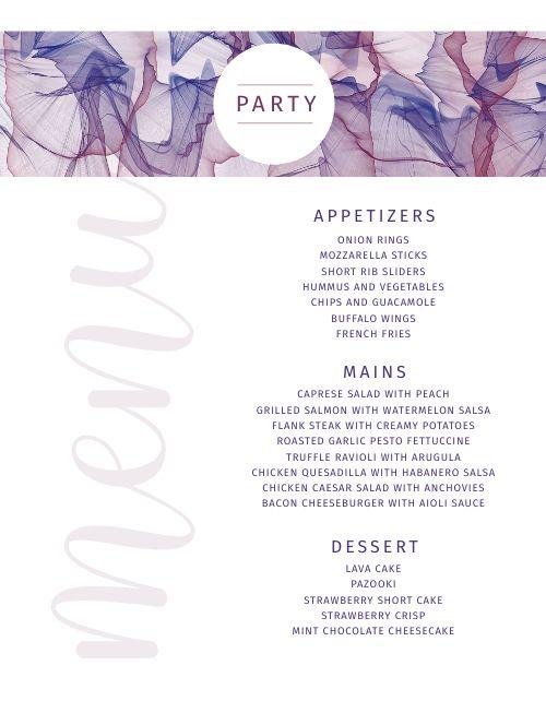 Elegant Party Menu