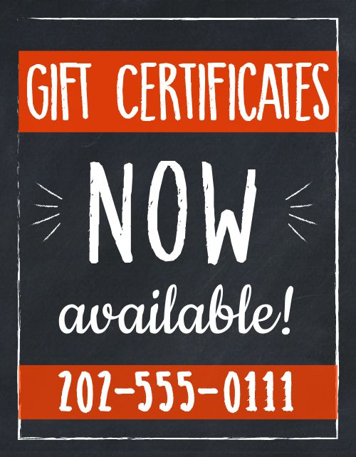 Gift Certificates Now Sign