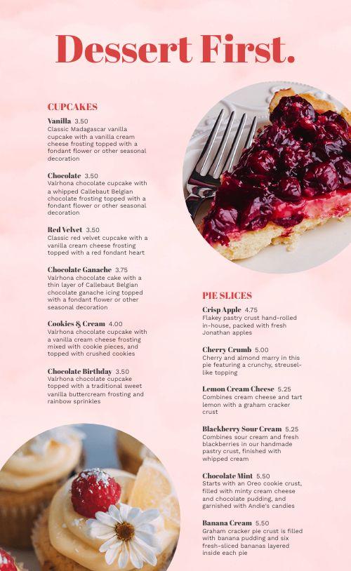 Essential Dessert Menu