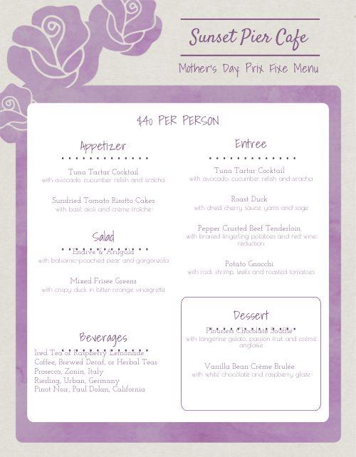 Mothers Day Cafe Menu
