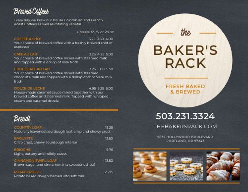 Contemporary Bakery Bifold Takeout Menu