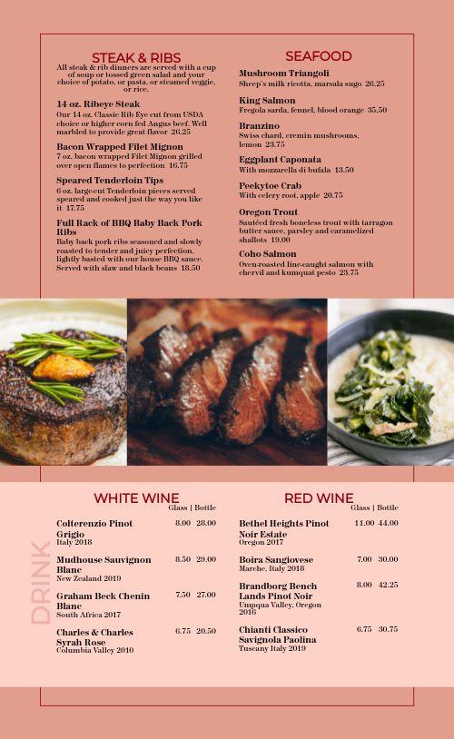 Colorful Steakhouse Menu