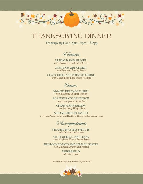 Happy Thanksgiving Menu