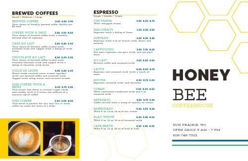 Coffee Honey Folded Menu