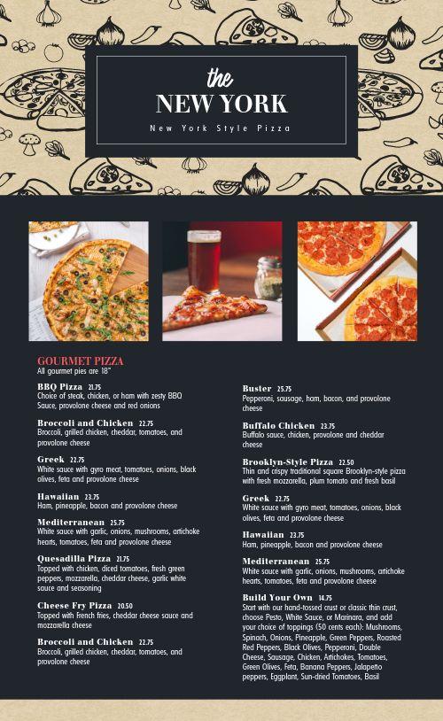 New York Style Pizza Menu