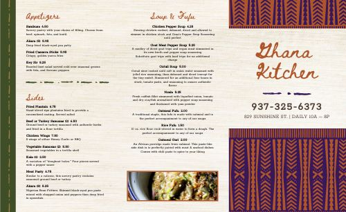 African Dinner Takeout Menu