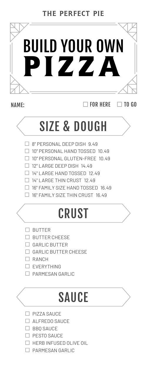 Simple Pizza Half Page Menu