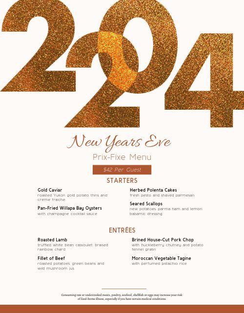Golden Year New Years Menu