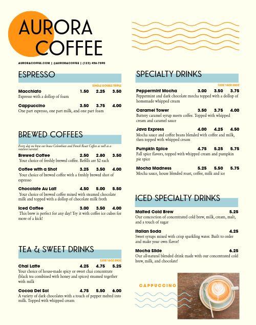 Coffee Cart Menu Poster