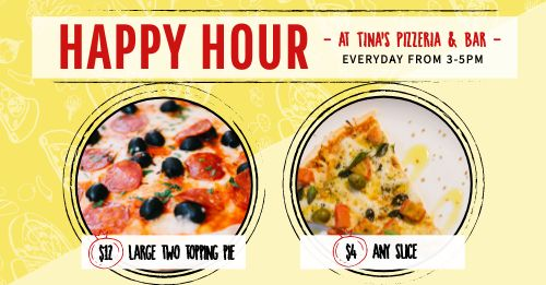 Happy Hour Pizza Facebook Post