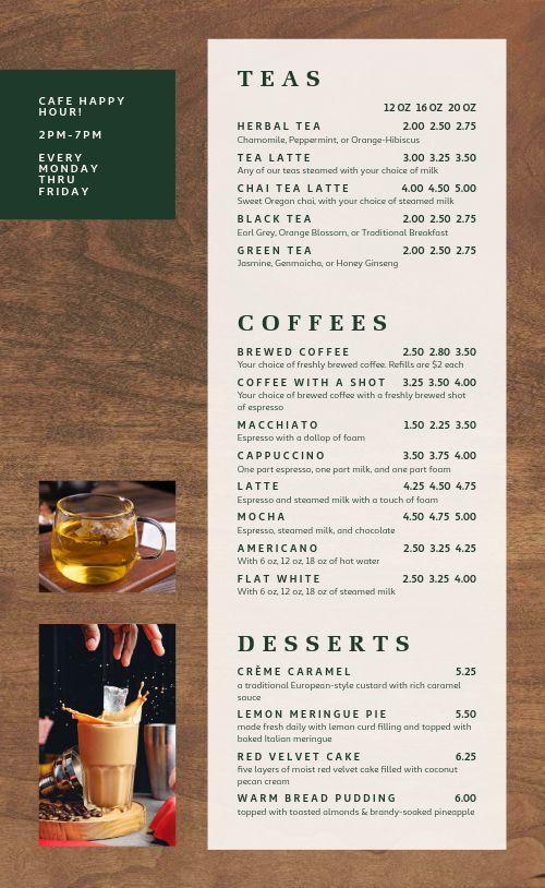 Woodgrain Cafe Menu