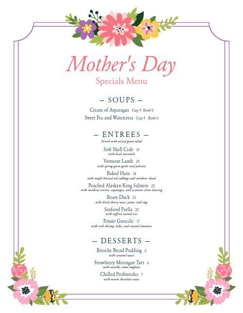 Sample Mothers Day Menu