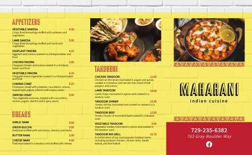 Casual Indian Takeout Menu