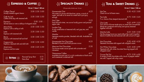 Coffee Cafe Digital Menu Board