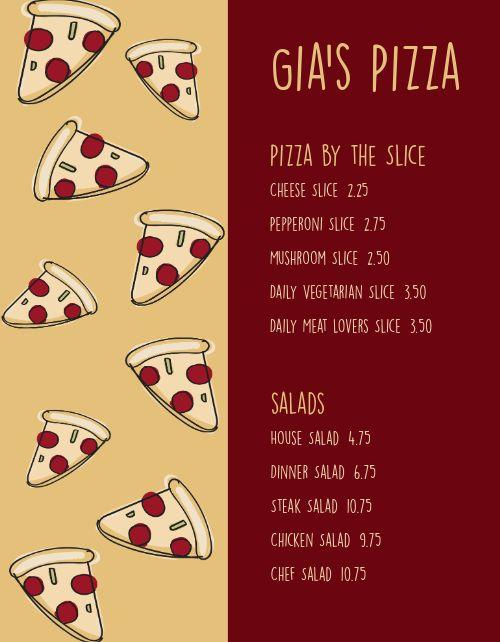 Cartoon Pizza Menu