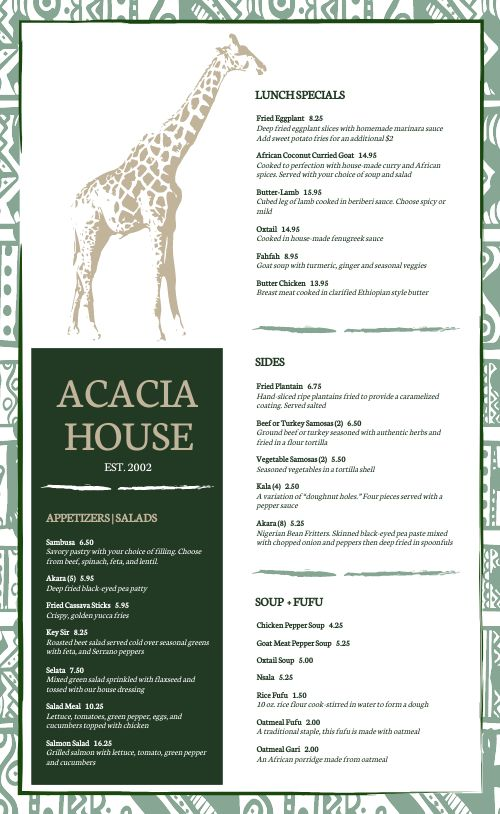 African Dining Menu