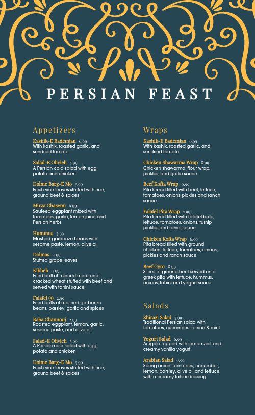 Persian Cuisine Menu