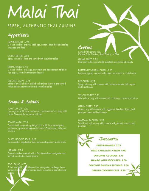 Fresh Thai Menu