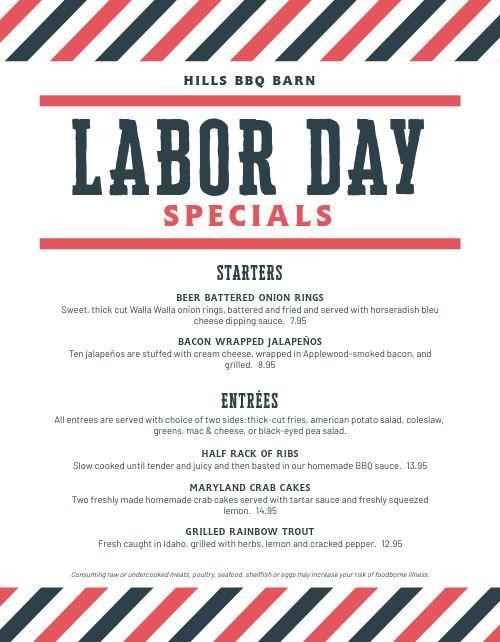 Labor Day Special Menu