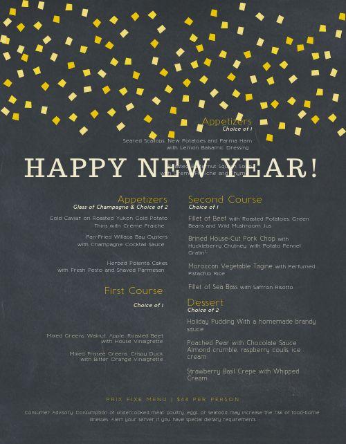 New Years Lights Menu