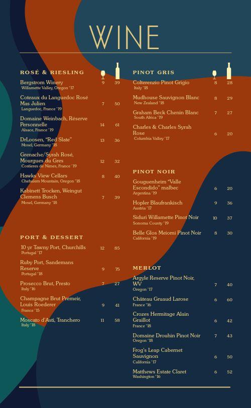 Colorful Wine List Menu
