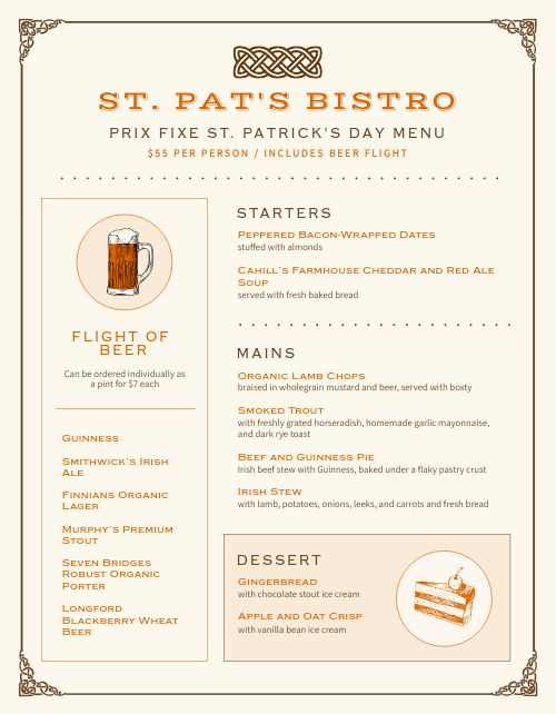 St Patricks Day Dinner Menu