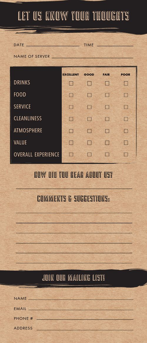 Tavern Comment Card