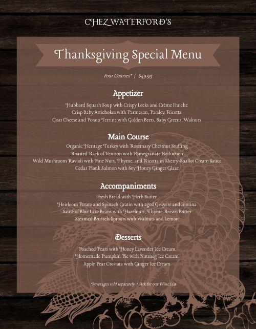 Thanksgiving Cornucopia Menu