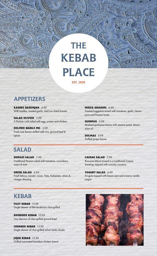 Middle Eastern Kebab Menu
