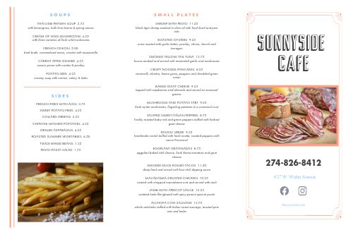 Sunshine Cafe Folded Menu