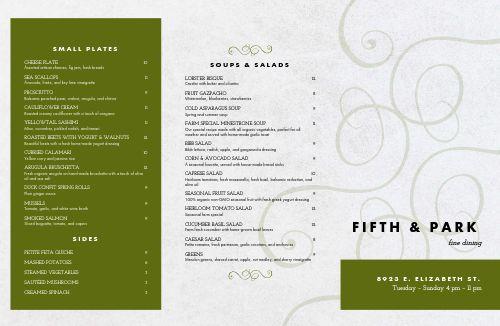 Fine Dining Establishment Folded Menu