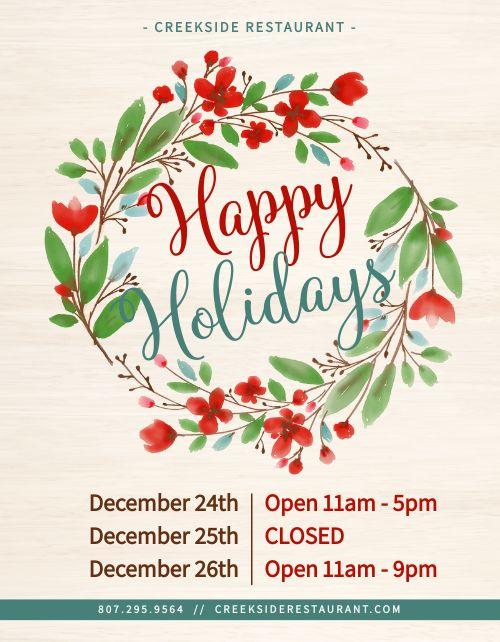Holiday Closure Flyer