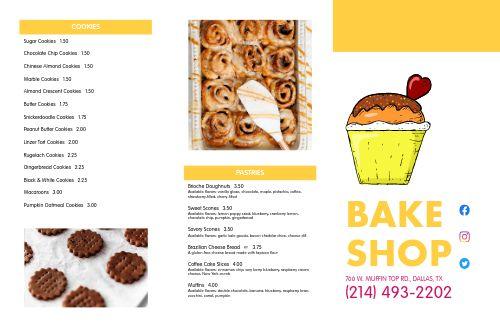 Bake Shop Dessert Folded Menu