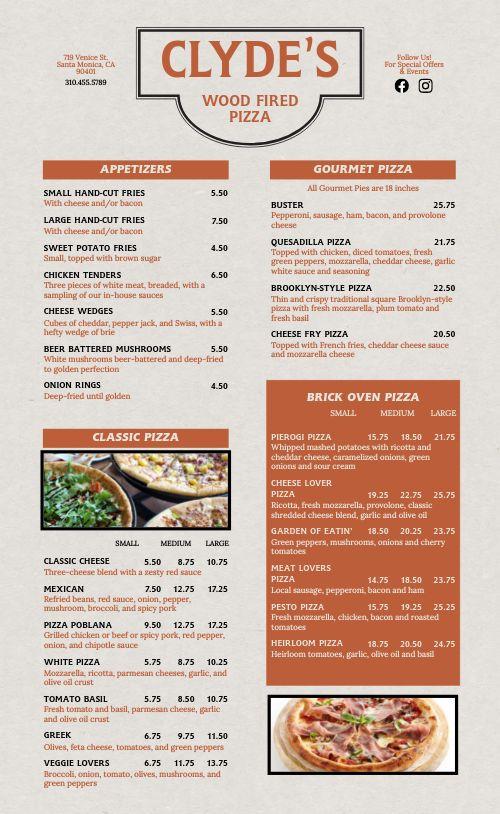 Wood Fired Pizza Menu Sample